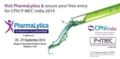 Visit PharmaLytica and secure your free entry for CPhI & PMEC India 2014