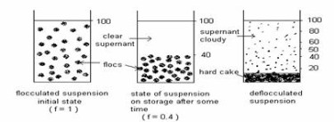 Suspensions quantified by sedimentation volume